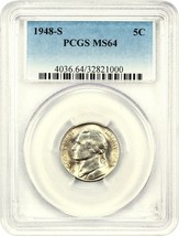 1948-S 5c PCGS MS64 - Jefferson Nickel - $24.25
