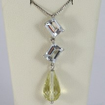 Necklace White Gold 750 - 18K Aquamarine Cut Emerald Quartz & Lemon Drop - $903.61