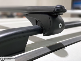 Black Fit For Mitsubishi Top Roof Rack Cross Bars Rails Lockable - $111.27
