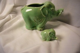 2 Green Elephants one a pepper &  one a Planter image 2