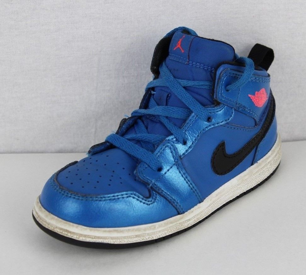 2a51f8c27a51 Nike Air Jordan Nike toddler kids leather basketball blue lace size 8C