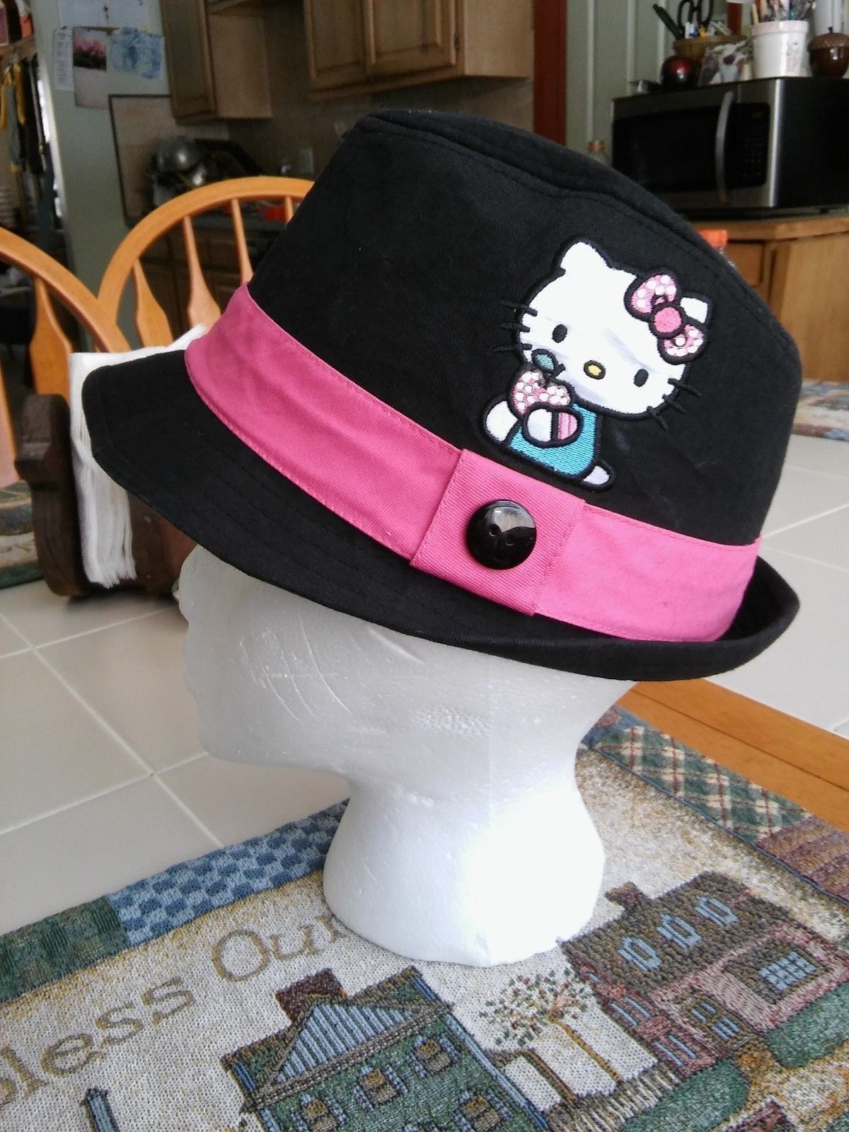 3045965f100 Sanrio Hello Kitty Black Fedora Hat with and 50 similar items