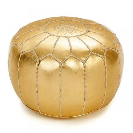 Moroccan leather pouf gold color