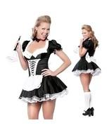 Late Nite Maid Halloween Costumes Party Costume Women Cosplay Black Sati... - $34.68