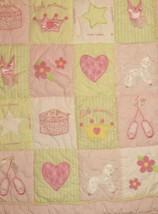 Lambs & Ivy Baby Bedding Quilt Green & Pink Little Princess Blanket Ball... - $24.75