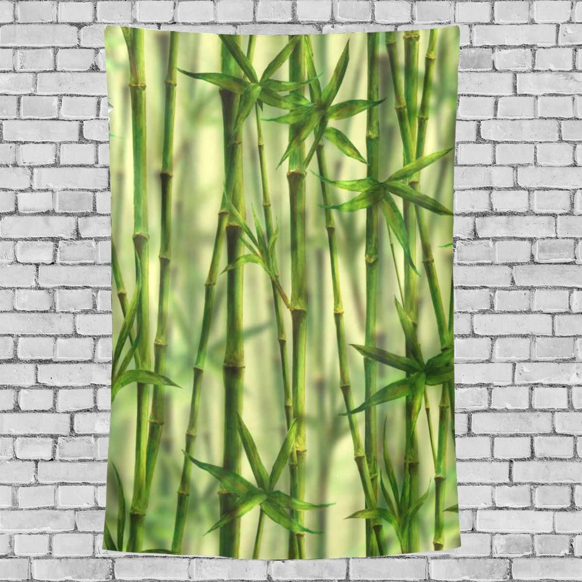 Edgy Art Wall Decor Bamboo Forest Green Leaves Pattern