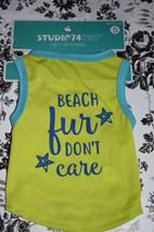 "Lime Green  Apparel Studio 74 Dog  T Shirt  ""Beach fur Don't Care""  - $4.77"