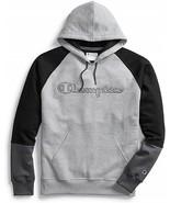 Champion Powerblend Colorblock Gray / Black Pullover Hoodie Adult Medium - $49.49