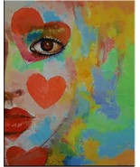"Beautiful American Clown Woman portrait Print on canvas wall art 28x36"" - $27.22"