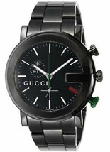 Gucci YA101331 Black Men's Watch Quartz 101m PVD Chronograph FREE ship W... - $1,335.44
