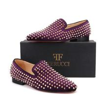 Men FERUCCI Purple Velvet Slippers Loafers Flat With Gold Spikes Rivets - $199.99