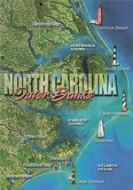 North Carolina Outer Banks City And lighthouse Printed Map Unused Postcard - $14.50