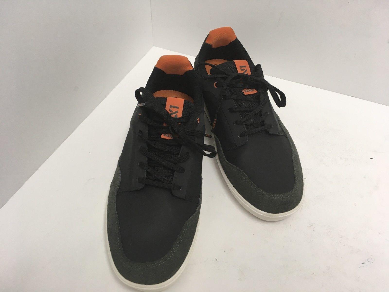384fece9d747db S l1600. S l1600. Previous. Vans Mens LXVI Inscribe Leather Skateboarding  Shoes Black Orange Size ...