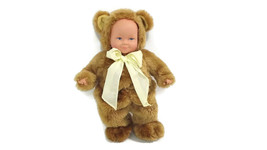 ANNE GEDDES Plush Bear Baby Doll Yellow Bow Removable Brown Bear Suit 15... - $23.94