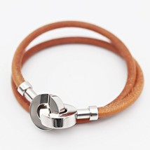 Hermes Lancelot choker necklace bracelet metal leather Silver Brown Auth - $267.06