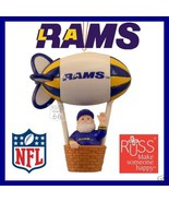 L A RAMS LOS ANGELES FOOTBALL VINTAGE SANTA W BLIMP ORNAMENT RUSS OLD CH... - $21.27