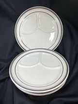 Homer Laughlin Best China Divided Grill Plate Black Stripes Lot Of 4 Unused - $24.75