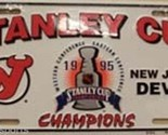 NEW JERSEY DEVILS 1995 NHL STANLEY CUP CHAMPS METAL LICENSE PLATE WALL SIGN TAG