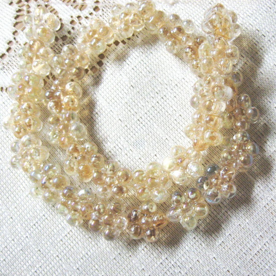 Glass Flower Beads Light Topaz, AB Finish 15mm, 9 beads image 3