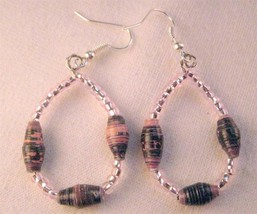 "Recycled Paper Bead  Black  Pink   2.25"" Loop Earrings Pink Accent & Silver Wire - $5.77"