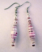 "Recycled Paper Beads Light Purple Pink Mix 2.5"" Drop Dangle Earrings Silver Wire - $5.77"