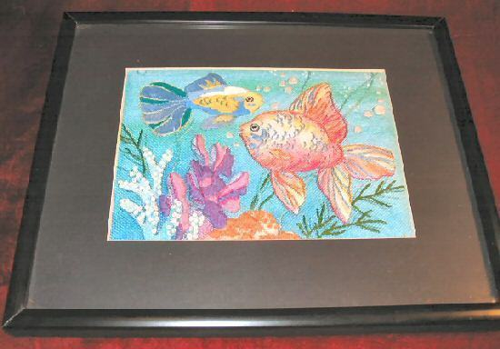 Gold Tropical Fish Cross Stitch Art Print Black Framed Matte