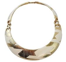 Monet Modernist White Enamel Couture Runway Collar Necklace 1980s - €139,61 EUR