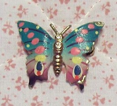 Old Colorful Enameled Butterfly Brooch Pin Korea Made 70's Style - $4.00