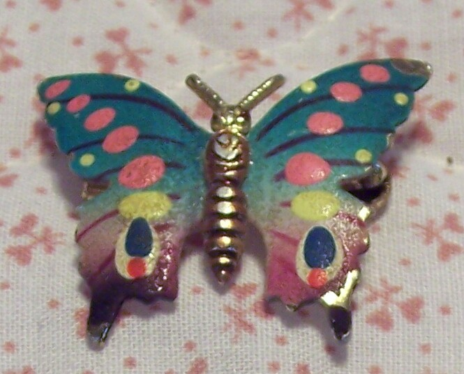 Old Colorful Enameled Butterfly Brooch Pin Korea Made 70's Style