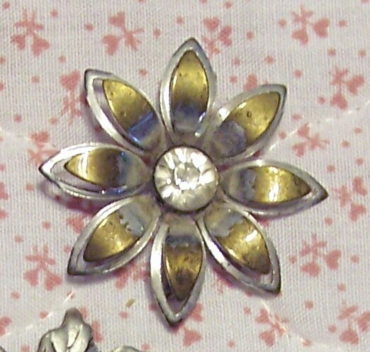 Old Metallic Flower and Rhinestone Brooch Pin