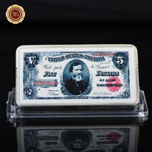 WR 1891 $5 US Treasury Note 999 Silver Ingot Bullion Art Bar Vintage Col... - $4.99
