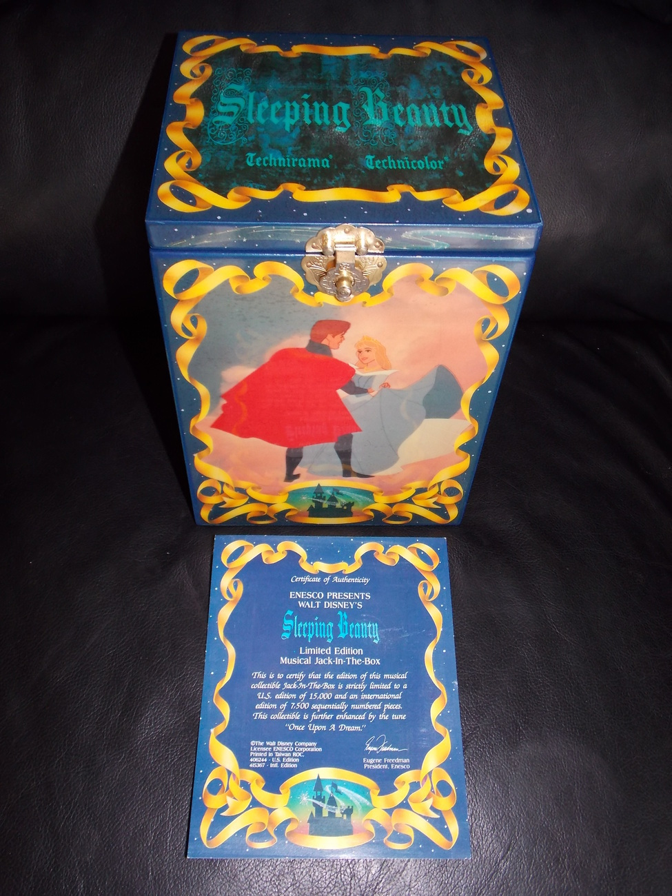 Disney Sleeping Beauty Musical Jack In The Box With Certificate & Box Enesco