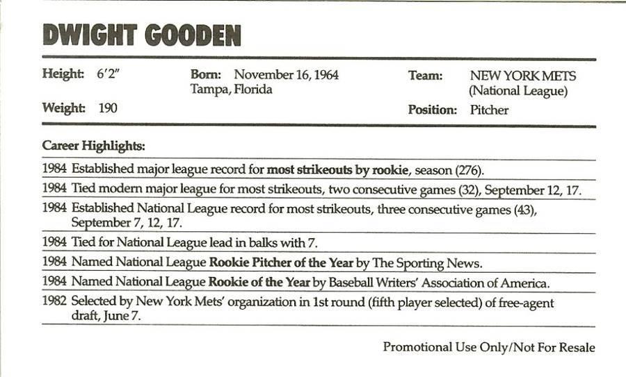 1985 nike dwight gooden promo baseball postcard mets issued with michael jordan
