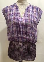 CAbi Women Purple Floral Plaid Semi Sheer Boho Eva Top Blouse Style #731... - $25.91