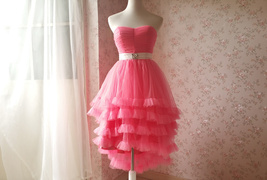 MELON RED Strapless Sweetheart Neck Hi-lo Tiered Tutu Skirt Bridesmaid Dress Cut