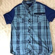 Sean John Boys Sz XL Button Up Blue Short Sleeve Shirt Plaid Body Blue Sleeves - $12.33