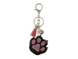 Paw Print Faux Suede Tassel Stuffed Pillow Key Chain Handbag Charm - $12.95