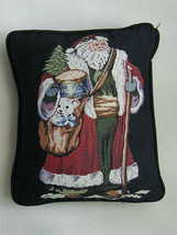 EUC Tapestry Old World Santa with Toys Pillow with Silk Moire Back - $7.99