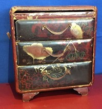 Antique Japanese Lacquer Small Chest of drawers Tansu Style Jewelry Box ... - $299.48