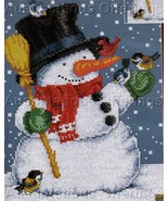 Snowman Christmas Cross Stitch Kit Blue Birds Cardinal - $19.00