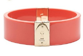 Fossil Brand Coral Gold Tone Stainless Wide Bracelet Bangle Hinged JF00397  - $34.90