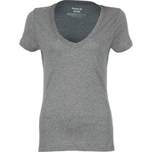 Hurley Women's Staple Perfect V Tee Carbon Heather T-Shirt SM (US 3-5)