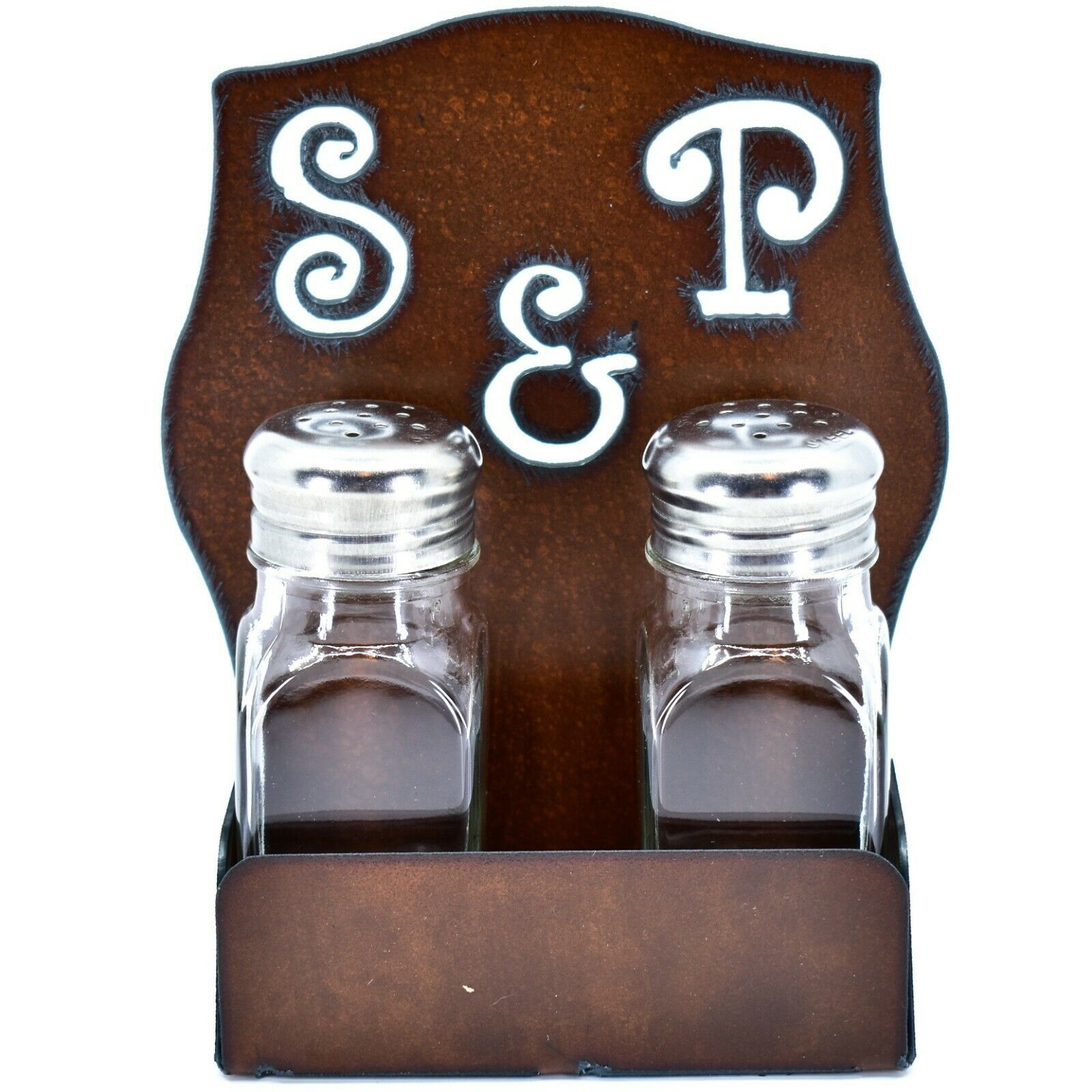 Rustic Iron Metal Cutout S&P Script Salt & Pepper Shaker Set