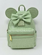 Disney Parks Minnie Mouse Mint Green Sequined Loungefly Mini Backpack Se... - $98.99