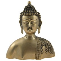 Buddha Bust Religious Statue Brass Figurines - $111.38