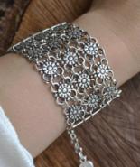 Tribal Bracelet, Wide Silver Bracelet, Wide Tribal Bracelet, Wide Boho, ... - $29.99