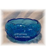 ~VINTAGE BLUE GLASS DIAMOND CUT ROUND CANDY DISH BOWL~  - $11.95