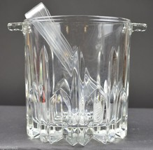 "Mikasa Crystal Wilshire Pattern Ice Bucket & Tongs 5.25"" T Tableware Serveware - $36.99"