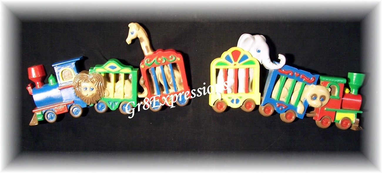 2 Vintage Home Interior/Homco Circus Train Wall Plaques