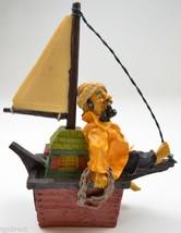 Fisherman Yellow Raincoat Sitting Sailboat Barefoot Sailor Resin Figurin... - $9.99